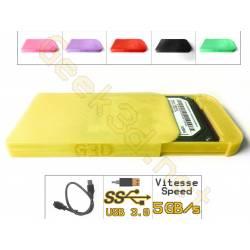 Boîtier lecteur disque dur HDD carte SSD jaune