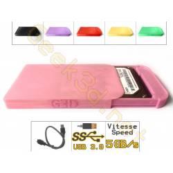 Boîtier lecteur disque dur HDD carte SSD rose