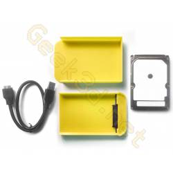 Ecological external hard drive disk pack hdd and yellow enclosure adaptator USB 3.0