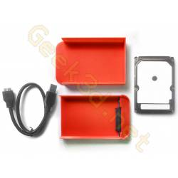 Ecological external hard drive disk pack hdd and red enclosure adaptator USB 3.0