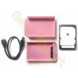 Disque dur externe écologique pack HDD boitier lecteur USB 3.0  rose