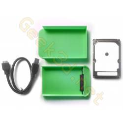 Ecological external hard drive disk pack hdd and green enclosure adaptator USB 3.0