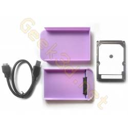 Ecological external hard drive disk pack hdd and purple enclosure adaptator USB 3.0