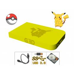 Hard Drive disk Pikachu Pokemon - HDD with enclosure USB 3.0 - Ecological solution Yellow