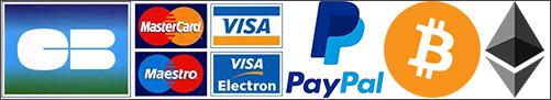 Paiement par Visa, Mastercard, PayPal, Bitcoins, Ethereum